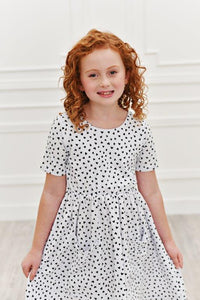 White w/ Black Hearts Twirl Dress