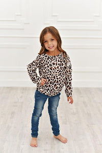 Long Sleeve Double Ruffle - Leopard