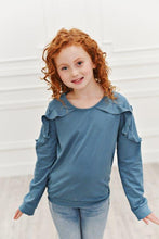 Load image into Gallery viewer, Marine Blue Ruffle Long Sleeve