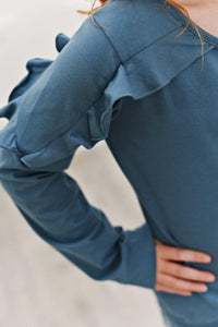 Marine Blue Ruffle Long Sleeve