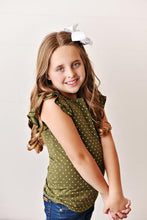 Load image into Gallery viewer, Olive Green Polka Dot Flutter Tee