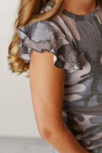 Flutter Sleeve Tee - Faded Camo