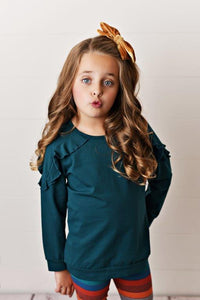 Teal Ruffle Long Sleeve