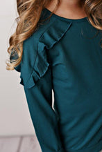 Load image into Gallery viewer, Teal Ruffle Long Sleeve