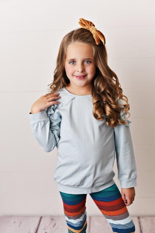 Chambray Ruffle Long Sleeve