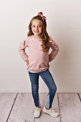 Dusty Rose Ruffle Long Sleeve