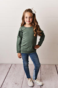 Sage Ruffle Long Sleeve