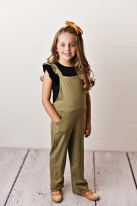 Olive Green - Ruffle Pocket Jumpsuits