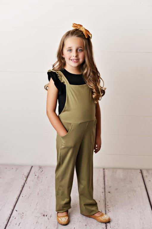 Olive Green Ruffle Overall
