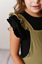 Load image into Gallery viewer, Olive Green Ruffle Overall