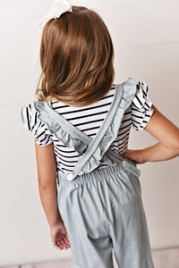 Chambray - Ruffle Pocket Jumpsuits