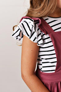 Flutter Sleeve Tee - Black & White Stripe