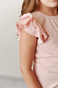 Flutter Sleeve Tee - Blush