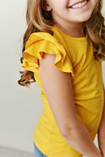 Load image into Gallery viewer, Mustard Flutter Sleeve Tee