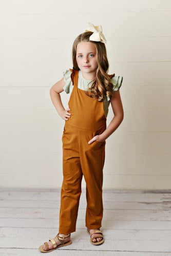 Brown Ruffle Pocket Jumpsuit