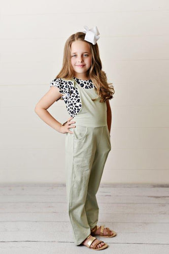 Olive Ruffle Overall