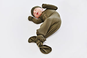 Knotted Baby Gown - Olive Green