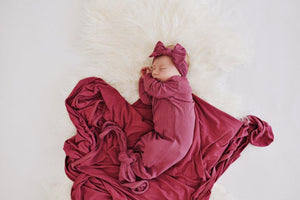 Knotted Baby Gown - Ribbed Mauve