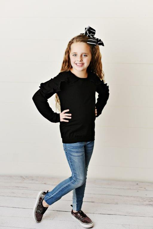 Long Sleeve Double Ruffle - Black