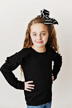 Load image into Gallery viewer, Long Sleeve Double Ruffle - Black