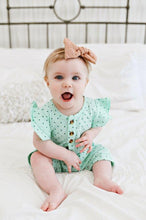Load image into Gallery viewer, Baby Flutter Sleeve Romper - Mint Polka Dot