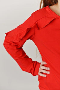 Red Ruffle Long Sleeve