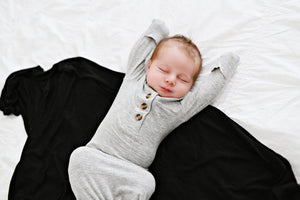 Knotted Baby Gown - Ribbed Heathered Gray