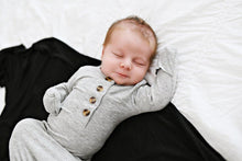 Load image into Gallery viewer, Knotted Baby Gown - Ribbed Heathered Gray