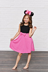 Pink Polka Dot Girl Mouse Dress