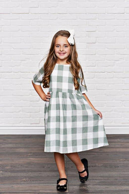 Sage Green Check Dress