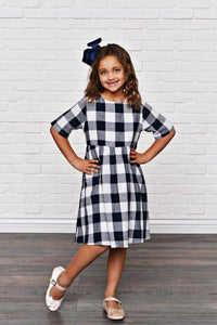 Navy Blue Check Dress