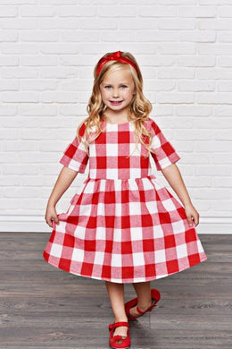 Red Holiday Check Dress