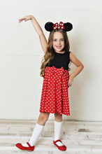 Load image into Gallery viewer, Final Sale - Girl Mouse (Red Bow) Dress