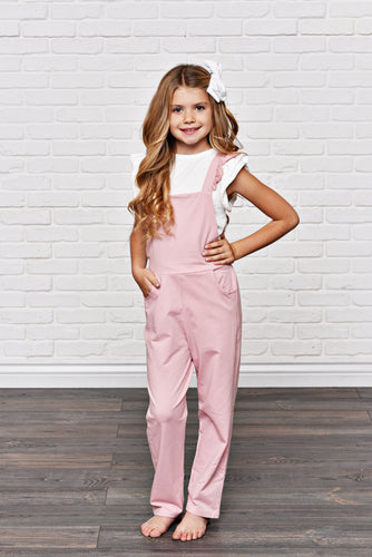 Dusty Rose Ruffle Overall