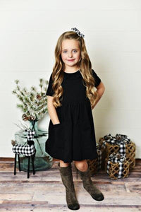 Black Ruffle Twirl Dress