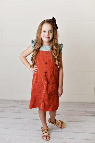 Brick Corduroy Dress