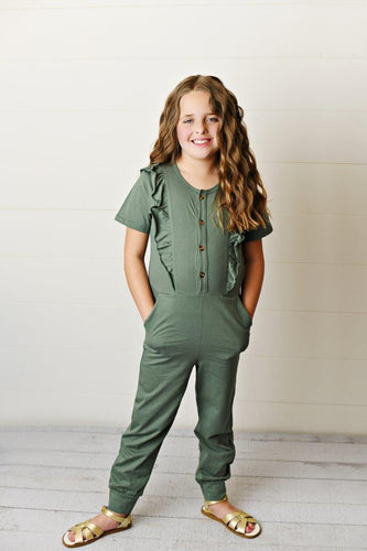 Ruffle Pocket Jumpsuit - Sage