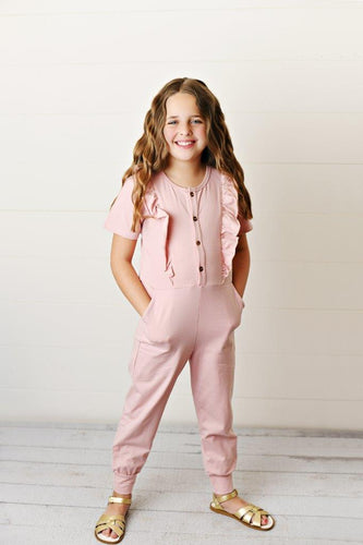 Ruffle Pocket Jumpsuit - Dusty Rose