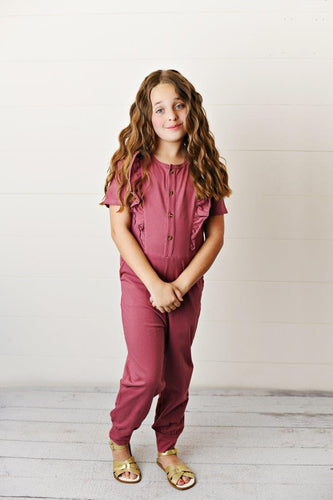 Ruffle Pocket Jumpsuit - Mauve