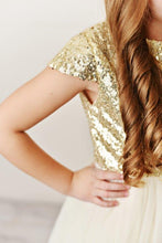 Load image into Gallery viewer, Gold - Sequin Twirl Dress