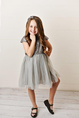 Gray - Sequin Twirl Dress