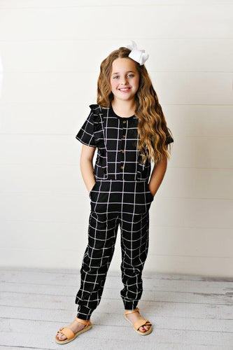 Ruffle Pocket Jumpsuit - Window Pane
