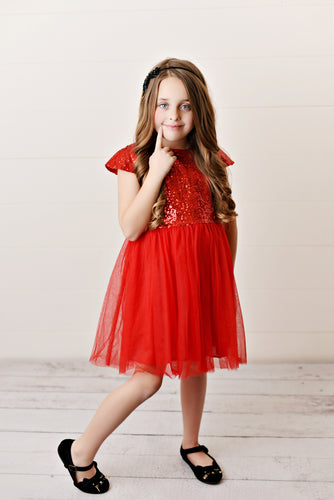 Red - Sequin Twirl Dress