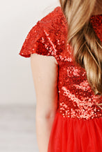 Load image into Gallery viewer, Red - Sequin Twirl Dress