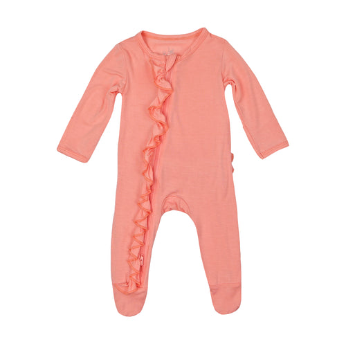 Ruffle 2 Way Zip Romper - Peach