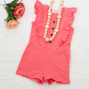 Shorts Romper - Bright Pink