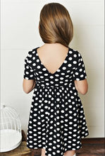Load image into Gallery viewer, Black Polka Dot Twirl Dress