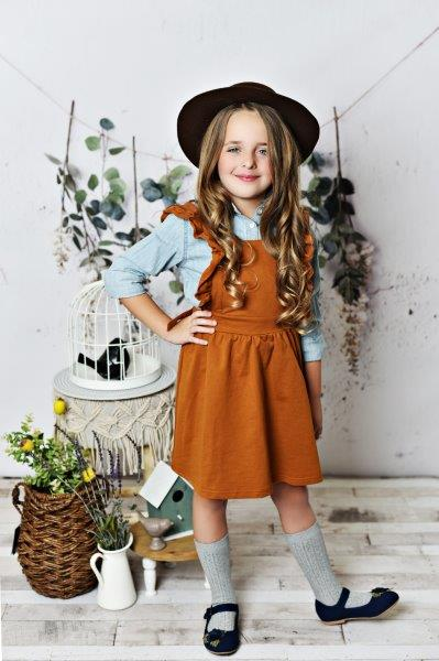 Ruffle Pinafore - Brown
