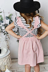 Ruffle Pinafore - Dusty Rose