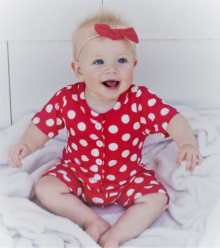 Baby Button Romper - Polka Dot